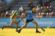 26 June 2019; Diarmaid O Floinn of Dublin in action against Joey Keenaghan of Offaly during the Bord Gais Energy Leinster GAA Hurling U20 Championship quarter-final match between Dublin and Offaly at Parnell Park in Dublin. Photo by Eóin Noonan/Sportsfile