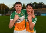 26 June 2019; John Murphy, left, celebrates with team-mate Brian Duignan following the Bord Gais Energy Leinster GAA Hurling U20 Championship quarter-final match between Dublin and Offaly at Parnell Park in Dublin. Photo by Eóin Noonan/Sportsfile