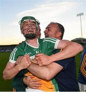 26 June 2019; John Murphy of Offaly celebrates following the Bord Gais Energy Leinster GAA Hurling U20 Championship quarter-final match between Dublin and Offaly at Parnell Park in Dublin. Photo by Eóin Noonan/Sportsfile