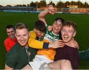 26 June 2019; John Murphy of Offaly celebrates with supporters following the Bord Gais Energy Leinster GAA Hurling U20 Championship quarter-final match between Dublin and Offaly at Parnell Park in Dublin. Photo by Eóin Noonan/Sportsfile
