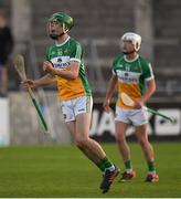 26 June 2019; John Murphy of Offaly celebrates after scoring the winning point during the Bord Gais Energy Leinster GAA Hurling U20 Championship quarter-final match between Dublin and Offaly at Parnell Park in Dublin. Photo by Eóin Noonan/Sportsfile