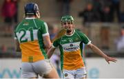 26 June 2019; John Murphy of Offaly celebrates with team-mate Cathal Brady following the Bord Gais Energy Leinster GAA Hurling U20 Championship quarter-final match between Dublin and Offaly at Parnell Park in Dublin. Photo by Eóin Noonan/Sportsfile