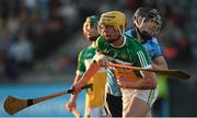 26 June 2019; Killian Sampson of Offaly in action against Sean Currie of Dublin during the Bord Gais Energy Leinster GAA Hurling U20 Championship quarter-final match between Dublin and Offaly at Parnell Park in Dublin. Photo by Eóin Noonan/Sportsfile