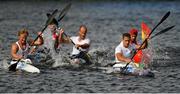 27 June 2019; Bálint Kopasz of Hungary, front right, leads the field on his way to winning the Men's Canoe Sprint K1 5000m Final at Zaslavl Regatta Course on Day 7 of the Minsk 2019 2nd European Games in Minsk, Belarus. Photo by Seb Daly/Sportsfile