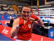 28 June 2019; Kellie Harrington of Ireland celebrates following victory during her Women's Lightweight semi-final bout against Agnes Alexiusson of Sweden at Minsk Arena Velodrome on Day 8 of the Minsk 2019 2nd European Games in Minsk, Belarus. Photo by Seb Daly/Sportsfile