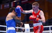 28 June 2019; Regan Buckley, right, of Ireland in action against Artur Hovhannisyan of Armenia during their Men's Light Flyweight semi-final bout at Minsk Arena Velodrome on Day 8 of the Minsk 2019 2nd European Games in Minsk, Belarus. Photo by Seb Daly/Sportsfile