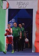 28 June 2019; Regan Buckley, right, of Ireland makes his way to the ring ahead of the Men's Light Flyweight semi-final bout at Minsk Arena Velodrome on Day 8 of the Minsk 2019 2nd European Games in Minsk, Belarus. Photo by Seb Daly/Sportsfile