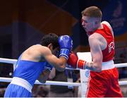 28 June 2019; Regan Buckley of Ireland, right, in action against Artur Hovhannisyan of Armenia during their Men's Light Flyweight semi-final bout at Minsk Arena Velodrome on Day 8 of the Minsk 2019 2nd European Games in Minsk, Belarus. Photo by Seb Daly/Sportsfile