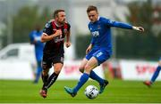 28 June 2019; Keith Ward of Bohemians in action against JJ Lunney of Waterford during the SSE Airtricity League Premier Division match between Waterford and Bohemians at the RSC in Waterford. Photo by Diarmuid Greene/Sportsfile