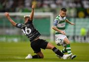 28 June 2019; Jack Byrne of Shamrock Rovers in action against Seán Murray of Dundalk during the SSE Airtricity League Premier Division match between Shamrock Rovers and Dundalk at Tallaght Stadium in Dublin. Photo by Eóin Noonan/Sportsfile