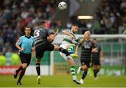 28 June 2019; Jack Byrne of Shamrock Rovers is tackled by Brian Gartland of Dundalk during the SSE Airtricity League Premier Division match between Shamrock Rovers and Dundalk at Tallaght Stadium in Dublin. Photo by Eóin Noonan/Sportsfile