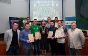 28 June 2019; Award recipients, from left, Mark Healy, Hicham Lamchaali, Jamie Adams, Cian McEvoy, Mark Healy, Geoffrey McCarthy and Dylan Kirwan, are presented with their certificates by Mark Connors, Development Officer, FAI, Cllr Vicki Casserly, Mayor of South Dublin, and Robbie De Courcy, Development Officer, FAI, during the Breakthrough Performance Awards 2019 at the South Dublin County Council Chambers in Tallaght, Dublin. Photo by Ramsey Cardy/Sportsfile