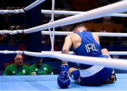 28 June 2019; Michael Nevin of Ireland is knocked down during his Men's Middleweight semi-final bout against Salvatore Cavallaro of Italy at Minsk Arena Velodrome on Day 8 of the Minsk 2019 2nd European Games in Minsk, Belarus. Photo by Seb Daly/Sportsfile