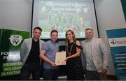 28 June 2019; Cian McEvoy is presented with his certificate by Mark Connors, Development Officer, FAI, Cllr Vicki Casserly, Mayor of South Dublin, and Robbie De Courcy, Development Officer, FAI, during the Breakthrough Performance Awards 2019 at the South Dublin County Council Chambers in Tallaght, Dublin. Photo by Ramsey Cardy/Sportsfile