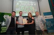 28 June 2019; Dylan Kirwan is presented with his certificate by Mark Connors, Development Officer, FAI, Cllr Vicki Casserly, Mayor of South Dublin, and Robbie De Courcy, Development Officer, FAI, during the Breakthrough Performance Awards 2019 at the South Dublin County Council Chambers in Tallaght, Dublin. Photo by Ramsey Cardy/Sportsfile