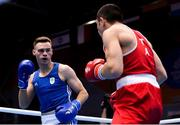 28 June 2019; Michael Nevin of Ireland, left, in action against Salvatore Cavallaro of Italy during their Men's Middleweight semi-final bout at Minsk Arena Velodrome on Day 8 of the Minsk 2019 2nd European Games in Minsk, Belarus. Photo by Seb Daly/Sportsfile