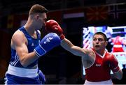 28 June 2019; Salvatore Cavallaro of Italy, right, in action against Michael Nevin of Ireland during their Men's Middleweight semi-final bout at Minsk Arena Velodrome on Day 8 of the Minsk 2019 2nd European Games in Minsk, Belarus. Photo by Seb Daly/Sportsfile