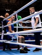 28 June 2019; Michael Nevin of Ireland is tended to by coaches Zaur Antia and John Conlon, and the ringside doctor following a knock-out during his Men's Middleweight semi-final bout against Salvatore Cavallaro of Italy at Minsk Arena Velodrome on Day 8 of the Minsk 2019 2nd European Games in Minsk, Belarus. Photo by Seb Daly/Sportsfile