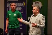 28 June 2019; Robbie De Courcy, Development Officer, FAI, and Jamie Adams, during the Breakthrough Performance Awards 2019 at the South Dublin County Council Chambers in Tallaght, Dublin. Photo by Ramsey Cardy/Sportsfile