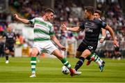 28 June 2019; Dylan Watts of Shamrock Rovers in action against Dane Massey of Dundalk during the SSE Airtricity League Premier Division match between Shamrock Rovers and Dundalk at Tallaght Stadium in Dublin. Photo by Ben McShane/Sportsfile
