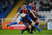 28 June 2019; Michael Barker of Bohemians, under pressure from Dean Walsh of Waterford, chests the ball into his own net during the SSE Airtricity League Premier Division match between Waterford and Bohemians at the RSC in Waterford. Photo by Diarmuid Greene/Sportsfile