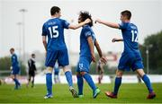 28 June 2019; Waterford players Dean Walsh, Bastien Héry and John Martin celebrate after Michael Barker of Bohemians scored an own goal during the SSE Airtricity League Premier Division match between Waterford and Bohemians at the RSC in Waterford. Photo by Diarmuid Greene/Sportsfile