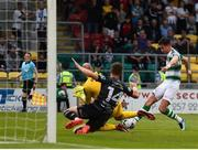 28 June 2019; Ronan Finn of Shamrock Rovers has a shot on goal saved by Gary Rogers of Dundalk during the SSE Airtricity League Premier Division match between Shamrock Rovers and Dundalk at Tallaght Stadium in Dublin. Photo by Eóin Noonan/Sportsfile