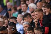 28 June 2019; Andy Boyle of Dundalk sat alongside team-mates during the SSE Airtricity League Premier Division match between Shamrock Rovers and Dundalk at Tallaght Stadium in Dublin. Photo by Eóin Noonan/Sportsfile