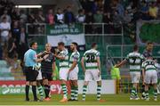 28 June 2019; Shamrock Rovers players protest to referee Robert Harvey after Gary Rogers of Dundalk fouled Trevor Clarke of Shamrock Rovers during the SSE Airtricity League Premier Division match between Shamrock Rovers and Dundalk at Tallaght Stadium in Dublin. Photo by Eóin Noonan/Sportsfile