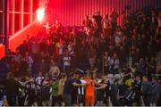 28 June 2019; Bohemians supporters and players celebrate after Michael Barker scored their side's second goal during the SSE Airtricity League Premier Division match between Waterford and Bohemians at the RSC in Waterford. Photo by Diarmuid Greene/Sportsfile