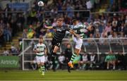 28 June 2019; Georgie Kelly of Dundalk in action against Lee Grace of Shamrock Rovers during the SSE Airtricity League Premier Division match between Shamrock Rovers and Dundalk at Tallaght Stadium in Dublin. Photo by Eóin Noonan/Sportsfile