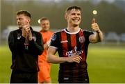 28 June 2019; Ryan Swan of Bohemians celebrates after the SSE Airtricity League Premier Division match between Waterford and Bohemians at the RSC in Waterford. Photo by Diarmuid Greene/Sportsfile