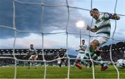 28 June 2019; Joey O'Brien of Shamrock Rovers fails to keep out a shot by Seán Gannon of Dundalk resulting in Dundalk's first goal of the SSE Airtricity League Premier Division match between Shamrock Rovers and Dundalk at Tallaght Stadium in Dublin. Photo by Eóin Noonan/Sportsfile