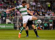 28 June 2019; Aaron Greene of Shamrock Rovers in action against Seán Hoare of Dundalk during the SSE Airtricity League Premier Division match between Shamrock Rovers and Dundalk at Tallaght Stadium in Dublin. Photo by Ben McShane/Sportsfile