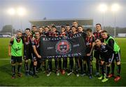 28 June 2019; Bohemians players hold a banner in memory of Bohemians supporter Cian Mullally after the SSE Airtricity League Premier Division match between Waterford and Bohemians at the RSC in Waterford. Photo by Diarmuid Greene/Sportsfile