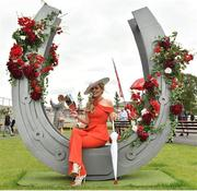 29 June 2019; Racegoer Anne-Marie Corbett from Mitchelstown Co Cork during day three of the Irish Derby Festival at The Curragh Racecourse in Kildare. Photo by Matt Browne/Sportsfile