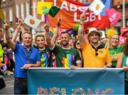 29 June 2019; Inter county GAA referee David Gough, his dad Eugene, left, former Ladies Football All Star Valerie Mulcahy, singer-songwriter and author Brian Kennedy, and comedian Katherine Lynch among the GAA group during the Dublin Pride Parade 2019 at O'Connell Street in Dublin. Photo by Ray McManus/Sportsfile