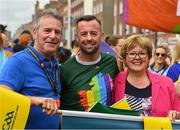 29 June 2019; Inter county GAA referee David Gough, his mother Jacinta and dad Eugene, among the GAA group during the Dublin Pride Parade 2019 at O'Connell Street in Dublin. Photo by Ray McManus/Sportsfile