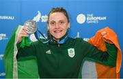 29 June 2019; Michaela Walsh of Ireland with her silver medal following her Women's Featherweight final bout at Uruchie Sports Palace on Day 9 of the Minsk 2019 2nd European Games in Minsk, Belarus. Photo by Seb Daly/Sportsfile
