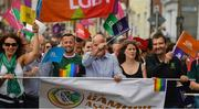 29 June 2019; Inter county GAA referee David Gough, Martin McAleese and the 'Great AK' Alan Kelly among the GAA group during the Dublin Pride Parade 2019 at O'Connell Street in Dublin. Photo by Ray McManus/Sportsfile