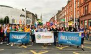 29 June 2019; Inter county GAA referee David Gough, former Ladies Football All Star Valerie Mulcahy, singer-songwriter and author Brian Kennedy, comedian Katherine Lynch,  Martin McAleese and  the 'Great AK' Alan Kelly among the GAA group during the Dublin Pride Parade 2019 at O'Connell Street in Dublin. Photo by Ray McManus/Sportsfile