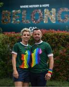 29 June 2019; Pictured at Croke Park ahead of the Dublin Pride Parade are inter county GAA referee David Gough and former Cork All Star Valerie Mulcahy. Photo by Ramsey Cardy/Sportsfile