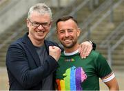 29 June 2019; Barrister, Gaelic football analyst and former Derry player Joe Brolly with GAA intercounty referee David Gough in attendance, at Croke Park, Dublin, before setting off to join the Dublin Pride Parade 2019  Photo by Ray McManus/Sportsfile
