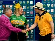 29 June 2019; Michael 'Babs' Keating is introduced to singer-songwriter and author Brian Kennedy by comedian Katherine Lynch, at Croke Park, Dublin, before setting off to join the Dublin Pride Parade 2019. Photo by Ray McManus/Sportsfile