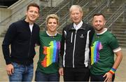 29 June 2019; Paul Flynn, Chief executive of the Gaelic Players Association, former Cork GAA star Valerie Mulcahy, former RTÉ gaelic games commentator Michéal O Muircheartaigh and intercounty referee David Gough in attendance, at Croke Park, Dublin, before setting off to join the Dublin Pride Parade 2019. Photo by Ray McManus/Sportsfile