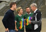 29 June 2019; Paul Flynn, Chief executive of the Gaelic Players Association, former Cork GAA star Valerie Mulcahy, former RTÉ gaelic games commentator Michéal O Muircheartaigh and intercounty referee David Gough in attendance, at Croke Park, Dublin, before setting off to join the Dublin Pride Parade 2019  Photo by Ray McManus/Sportsfile