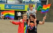 29 June 2019; Valerie Mulcahy, Cork, and Lindsay Peat, Dublin, with Barra Peat Brogan, 4 years, in attendance, at Croke Park, Dublin, before setting off to join the Dublin Pride Parade 2019. Photo by Ray McManus/Sportsfile