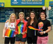 29 June 2019; Gemma Begley, the former Tyrone player, Valerie Mulcahy, Cork, Brona Sheridan, Cavan, and Lindsay Peat, Dublin, i n attendance, at Croke Park, Dublin, before setting off to join the Dublin Pride Parade 2019. Photo by Ray McManus/Sportsfile