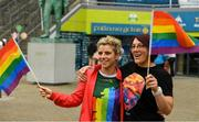 29 June 2019; Valerie Mulcahy, Cork, and Lindsay Peat, Dublin, in attendance, at Croke Park, Dublin, before setting off to join the Dublin Pride Parade 2019. Photo by Ray McManus/Sportsfile