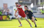 29 June 2019; Matthew Donnelly of Tyrone in action against Chris Healy of Kildare during the GAA Football All-Ireland Senior Championship Round 3 match between Kildare and Tyrone at St Conleth's Park in Newbridge, Co. Kildare. Photo by Ramsey Cardy/Sportsfile